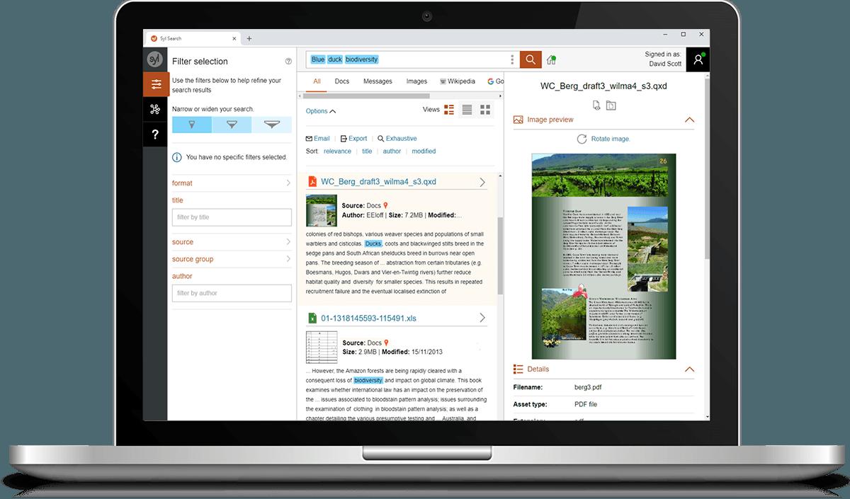 Search Enterprise user interface